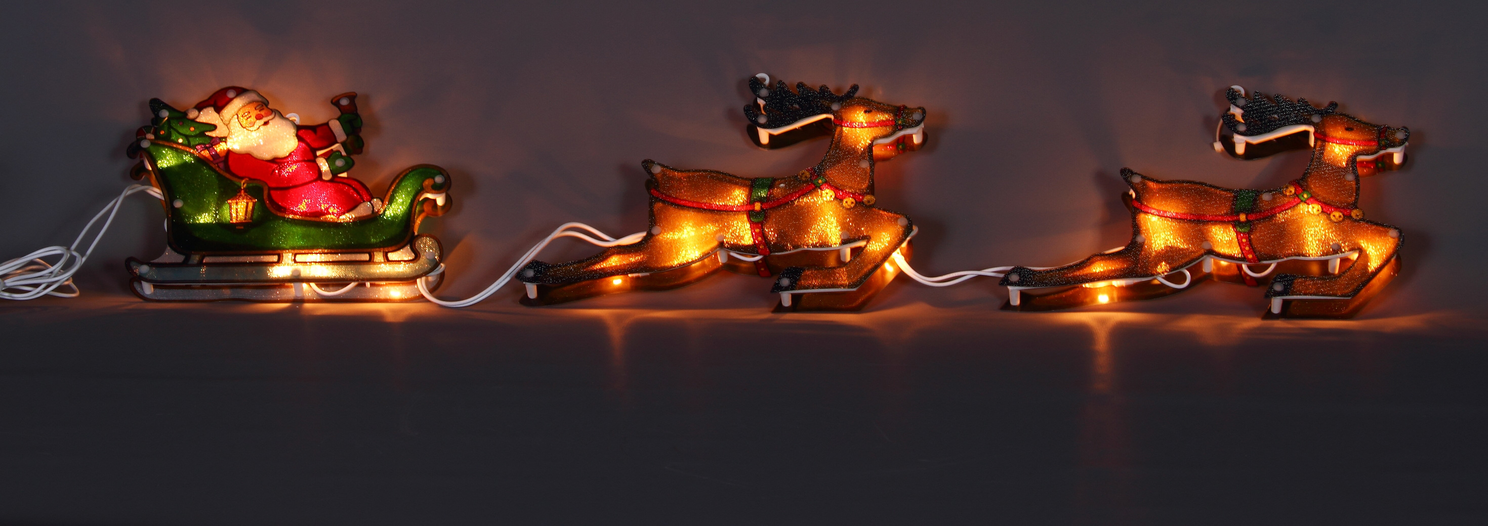 Santa in sleigh x 2 reindeer silhouette christmas lights christmas santa in sleigh x 2 reindeer silhouette christmas lights aloadofball Choice Image