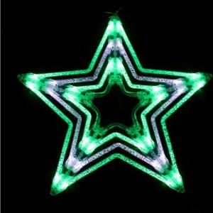 51cmh LED Star Green/White