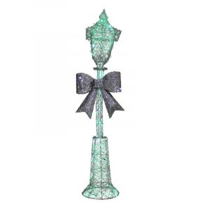 Silver Metal Lamp Post With Green Led & Adaptor