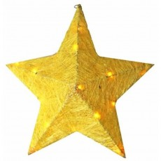 Gold Sisal Star With Min Lights & Adaptor