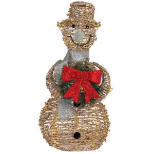 Gold Rattan Snowman With Min Lights & Adaptor &Motor
