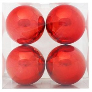 13cm Red 4pk Bauble