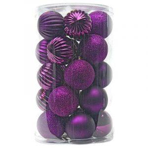 Purple Patterned Baubles 60Mm