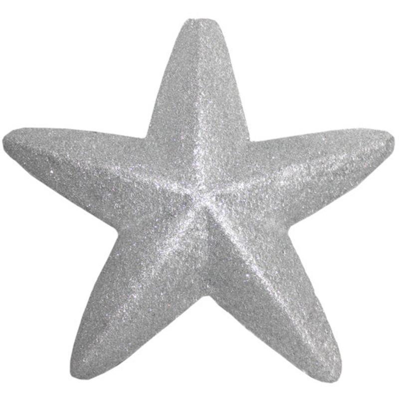 20cm Silver Glitter Star