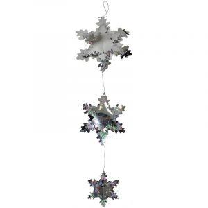 Laser Silver Snowflake Mobile