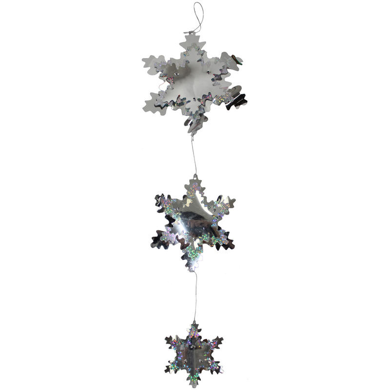 Laser Silver Snowflake Mobile