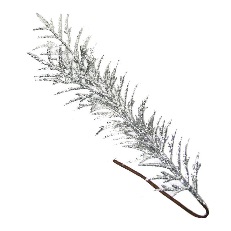 Silver Glitered Fern Leaf 60Cm