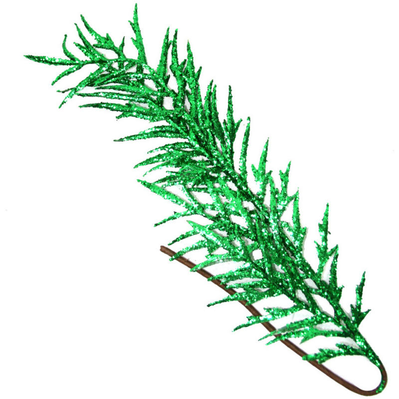 Ivy Green Glitered Fern Leaf 60Cm