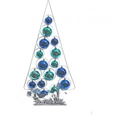 Blue-Turquoise Wired Bauble Tree