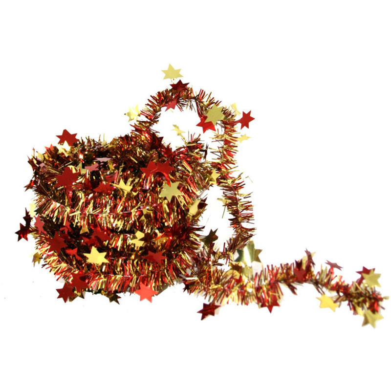 red/gold mini star garland 5m