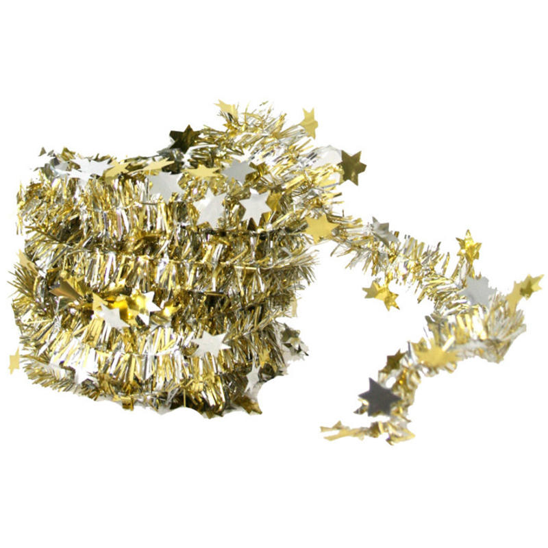 gold/silver mini star garland 5m