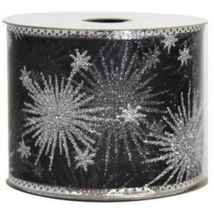 Silver Starburst Black Sheer Ribbon 9M