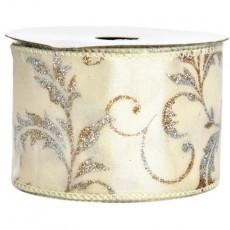 Gold-Silver Leaf Ivory Taffeta Ribbon 9M