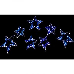 7 LED Stars BlueAndWhite