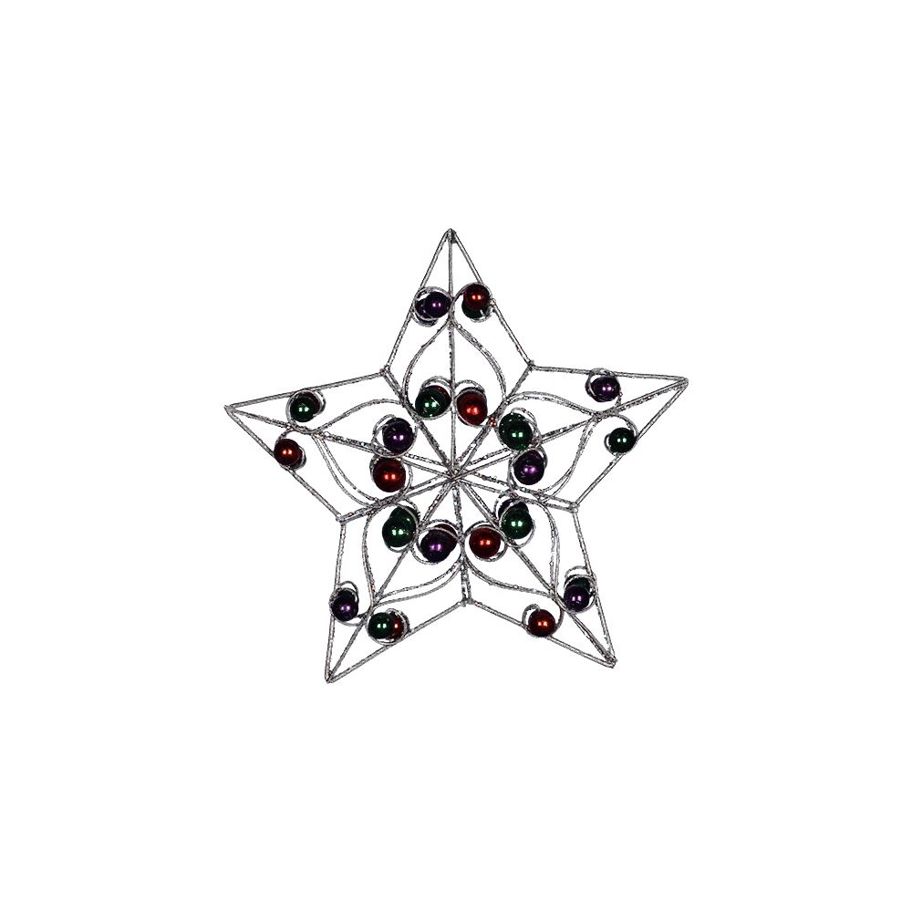 Silver Metal Star With Colour Beads 8Inch