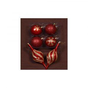 Red Glitter Baubles 6Cm 6Pk