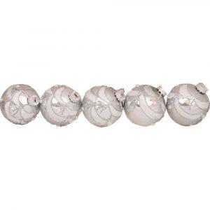 Silver Glitter Swag Baubles 6Cm 5Pk