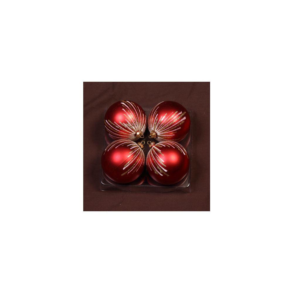 Red Glitter Rain 8Cm 4Pk