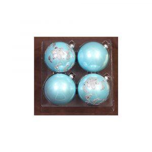 Blue Glitter Star Baubles 10Cm 4Pk