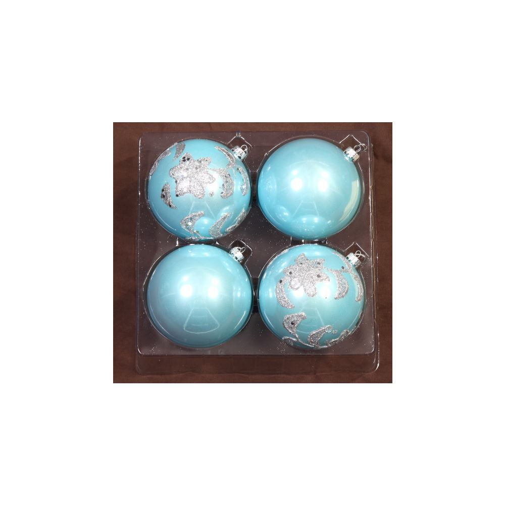 Blue Glitter Star Baubles 10Cm 4Pk