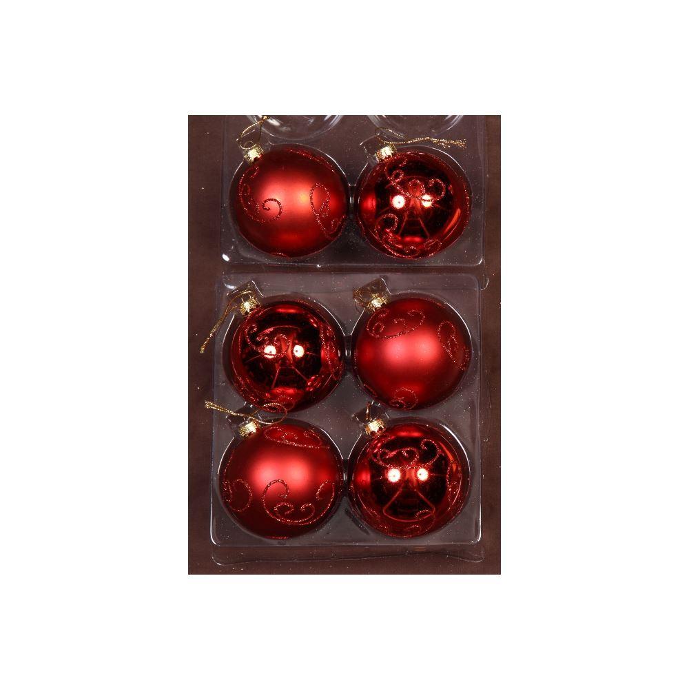 Red/Red Glitter Swirl Bauble 8Cm 6Pk