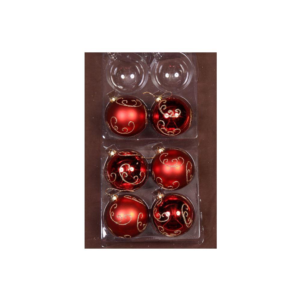 Red/Gold Glitter Swirl Bauble 8Cm 6Pk