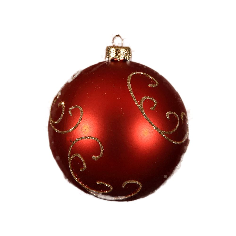 Purple and gold christmas tree decorations - Red Gold Glitter Swirl Bauble 8cm 6pk Christmas