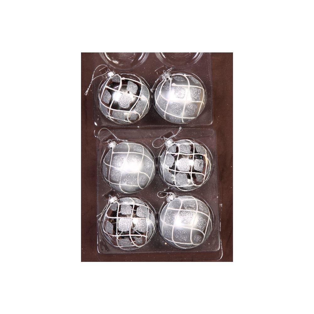 Silver Glitter Quilt Baubles 8Cm 6Pk