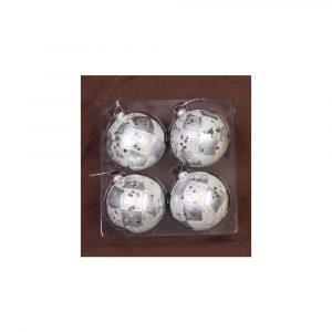 Silver Sequin Baubles 8Cm 4Pk