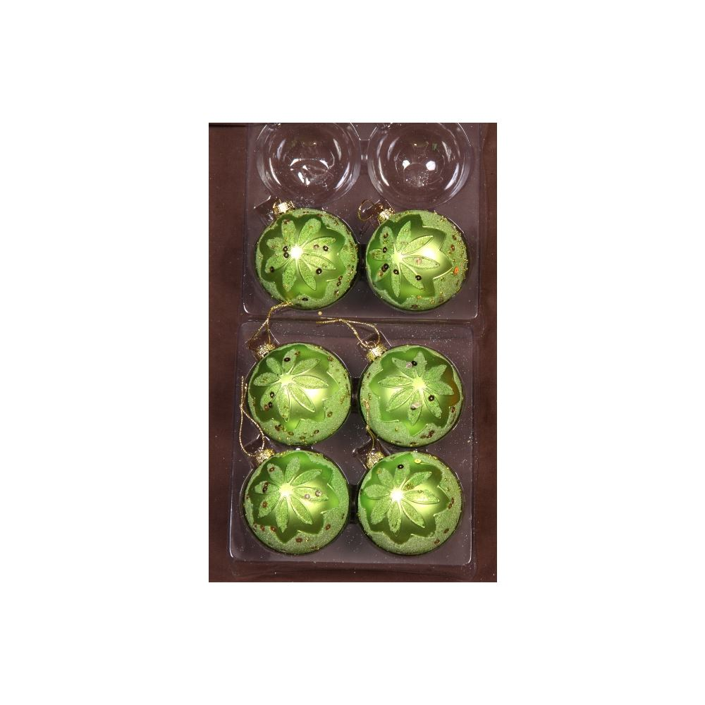 Lime Embossed Baubles 8Cm 6Pk