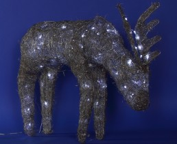 Silver Reindeer White Led