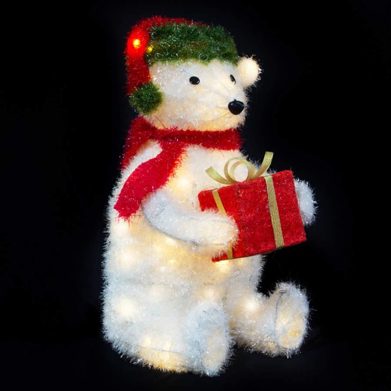 Sitting Polar Bear WW LED 53cm