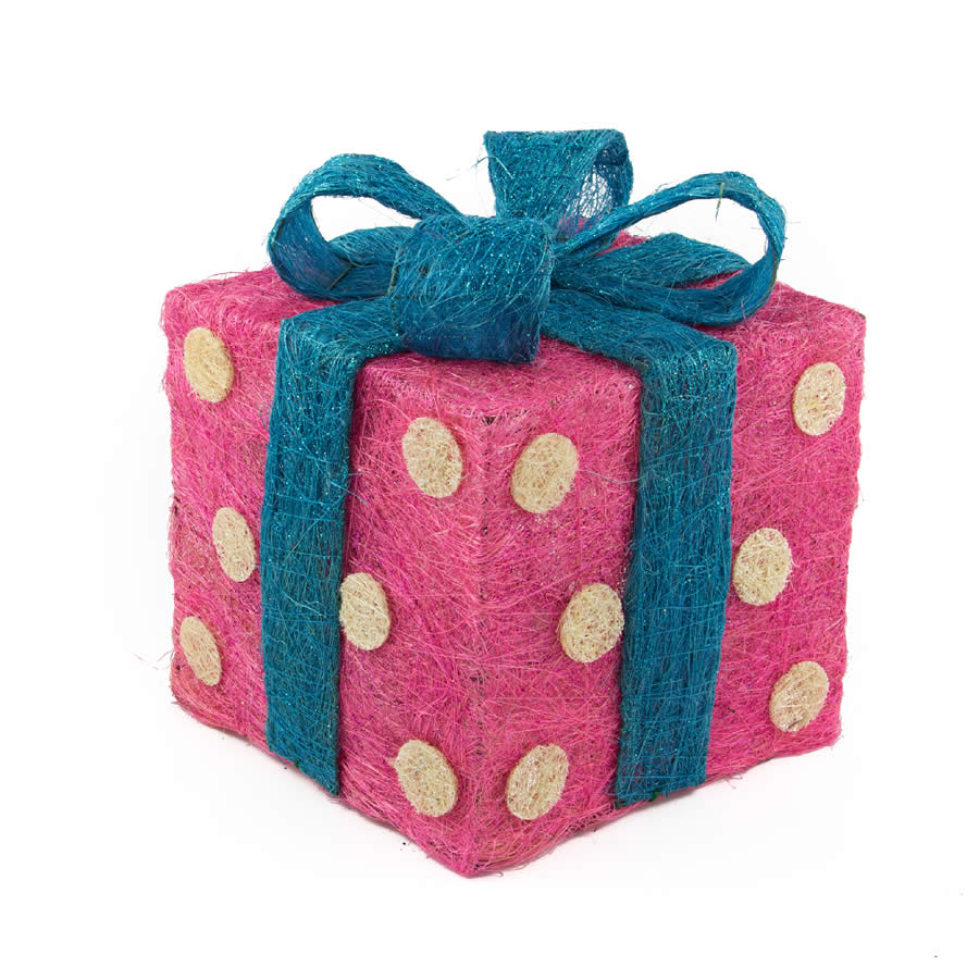 red Polka Dots Sisal Gift Box
