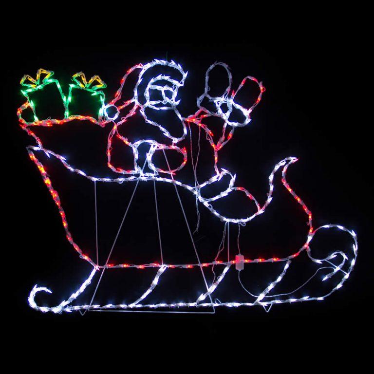 Waving Santa in Sleigh LED