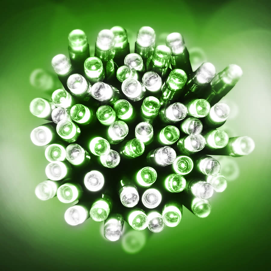 200 Green and White LED Green Wire