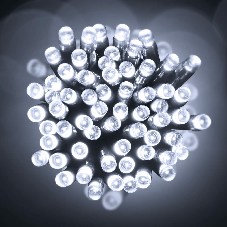 500 Pure White LED Green Wire