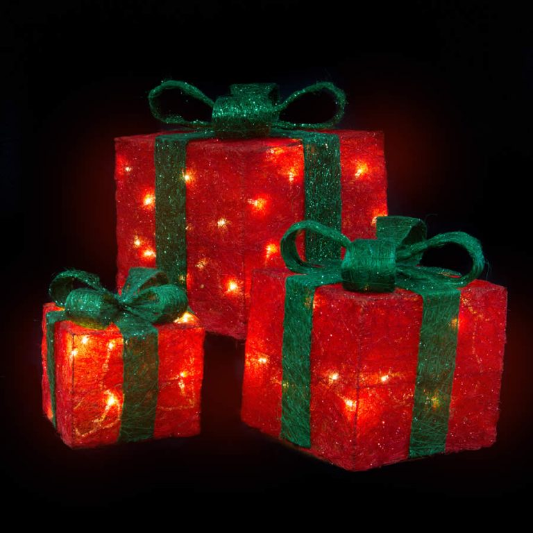 Red Sisal Gift Box With Min Lights &Amp; Adaptor(1Set With 1 Adapter)