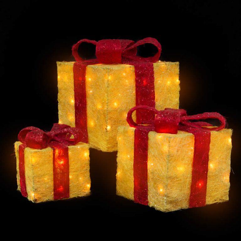 Gold Sisal Gift Box Set Of 3
