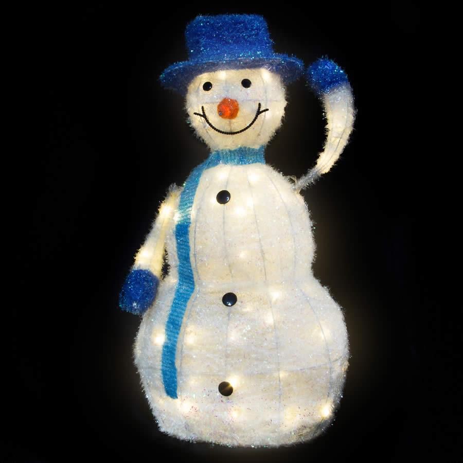 White LED Tinsel Snowman 90cm