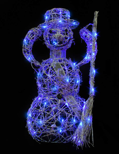Silver Snowman Blue Led Animated