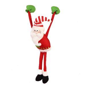 Slim Leg Hanging Santa With Heavy Hand - 30cm