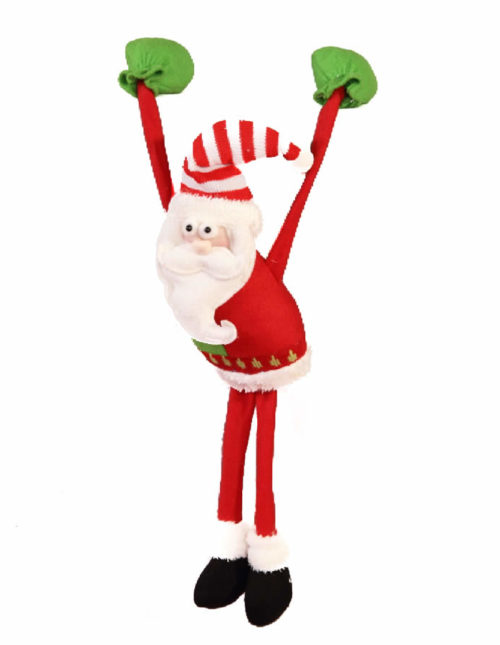Slim Leg Hanging Santa With Heavy Hand - 30cm
