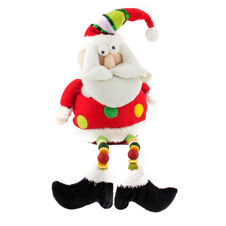 Sitting Santa With Beaded Soft Legs