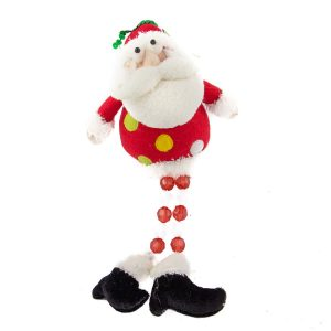 Santa With Acrylic Beaded Legs - 28cm