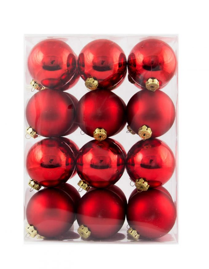 24Pk 6Cm Red Baubles