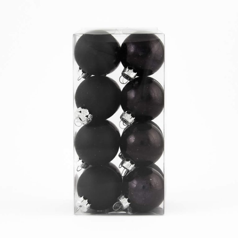 4cm Bauble 16pk Black