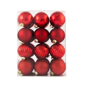 Red 6Cm Pat 24Pk Baubles