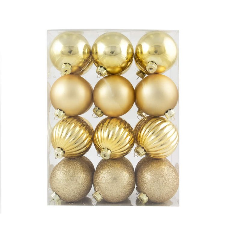 Gold Patterned Baubles 24pk 60mm
