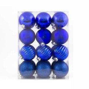 Blue Patterned Baubles 24pk 60mm
