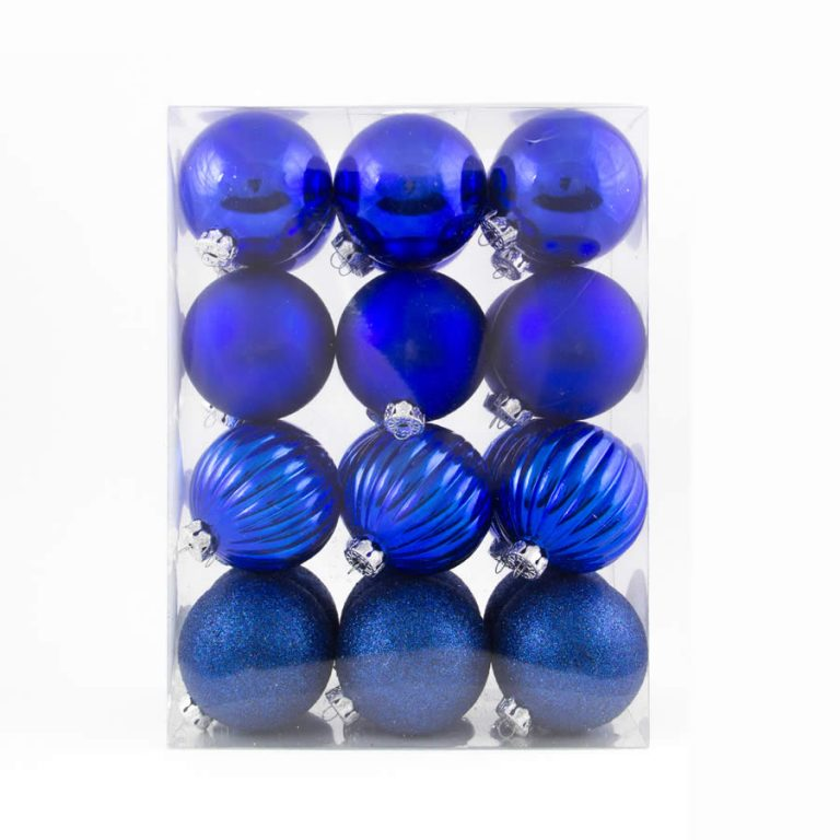 Blue Patterned Baubles 24pk 60mm